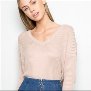 Brandy Melville Slouchy Ribbed V-neck Sweater